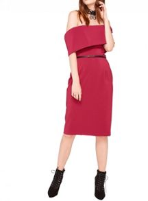 Miss Selfridge Pink Deep Bardot Dress