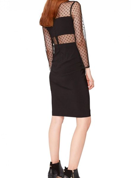 Miss Selfridge Spot Mesh Insert Dress