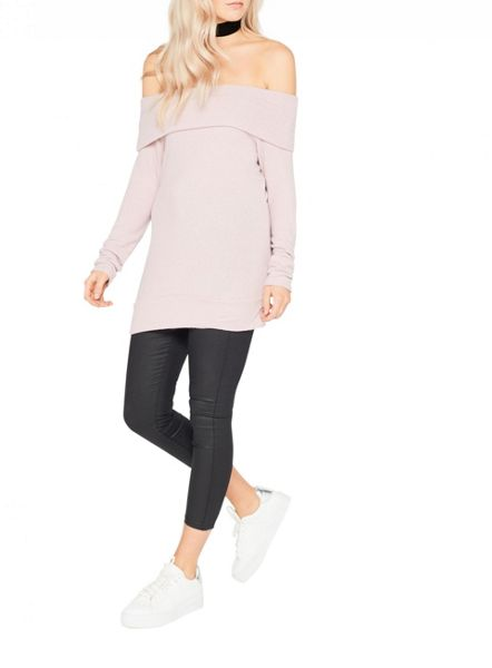 Miss Selfridge Pink Bardot Longline Top