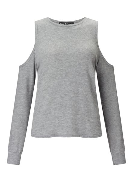 Miss Selfridge Grey Cold Shoulder Top