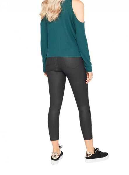 Miss Selfridge Dark Green Cold Shoulder Top