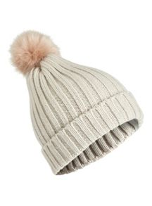 Miss Selfridge Grey/Nude Fur Pom Beanie