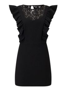 Miss Selfridge Black Lace Frill Dress
