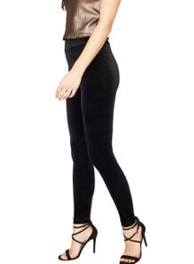 Miss Selfridge Blk High Waisted Velvet Leggin