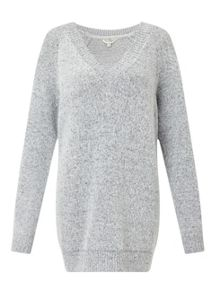 Miss Selfridge Gry V Slouchy Jumper
