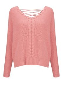 Miss Selfridge Pnk Lttce Cble Jumper