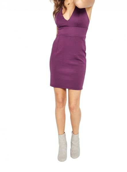 Miss Selfridge Purple Plunge Scuba Dress