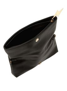 Miss Selfridge Foldover Black Clutch Bag