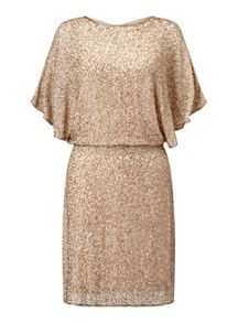 Miss Selfridge Gold Angel Sleeve Dress