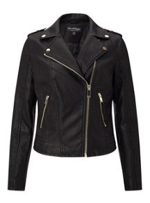Miss Selfridge Black Debbie Pu Biker Jacket
