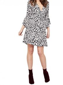 Miss Selfridge Animal Flute Sleeve Wrap Dress