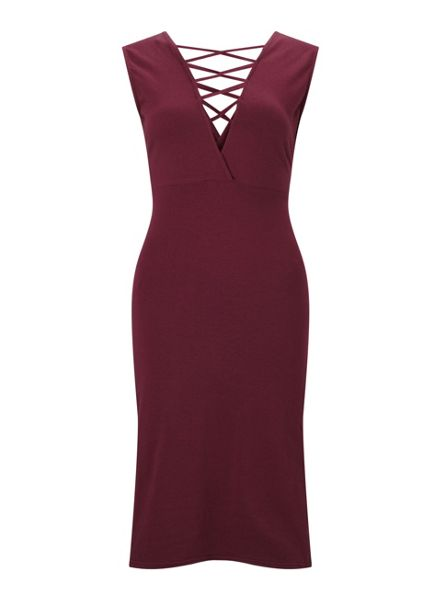 Miss Selfridge Burgundy Lace Up Back Dress