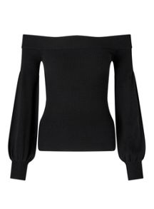 Miss Selfridge Balloon Sleeve Black Bardot Top
