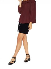 Miss Selfridge Burgundy Tie Back Bardot