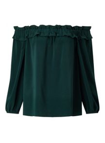 Miss Selfridge Green Tie Back Bardot