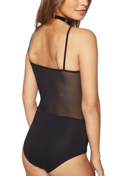 Miss Selfridge Petite Black Ladder Mesh Body