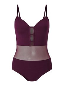 Miss Selfridge Petites Burgundy Mesh Body