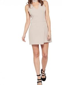 Miss Selfridge Mink Halter Cut Out Playsuit