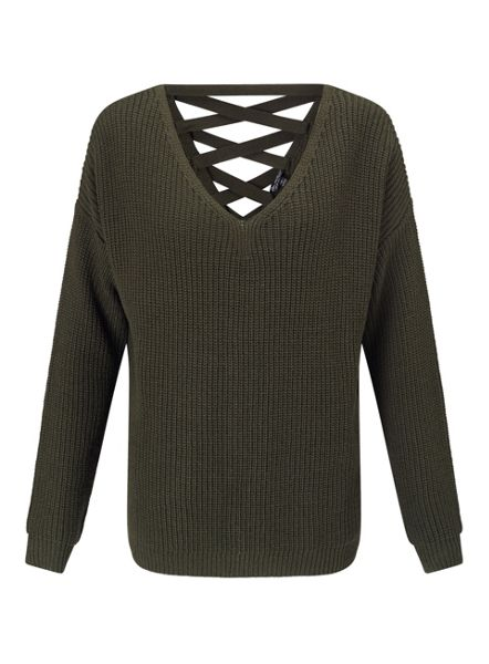 Miss Selfridge Khaki Lattice Back Knit Jumper