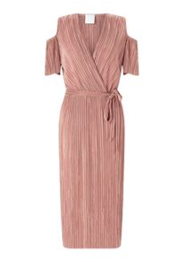 Miss Selfridge Pink Plisse Cold Shoulder Dres