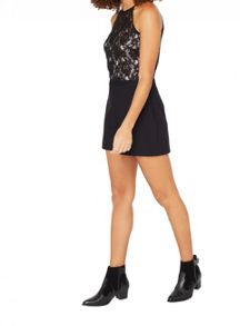 Miss Selfridge Petites Lace Overlay Playsuit
