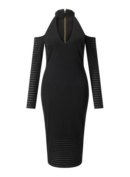 Miss Selfridge Choker Long Sleeve Midi Dress