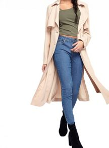 Miss Selfridge Camel Crepe Mac