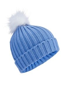 Miss Selfridge Blue Fur Pom Hat
