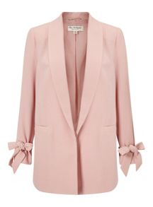 Miss Selfridge Blush Bow Sleeve Blazer