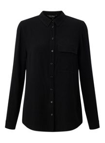Miss Selfridge Black Military Shirt