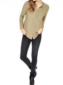 Miss Selfridge Khaki Military Shirt