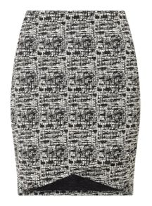 Miss Selfridge Mono Cross Front Mini Skirt