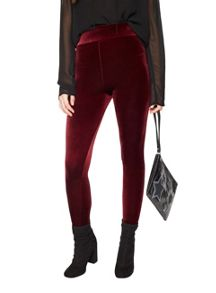 Miss Selfridge Burgendy Hw Velvet Legging