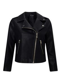 Miss Selfridge Cropped Pu Biker