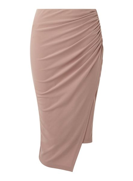 Miss Selfridge Pink Rouched Drape Pencil Skt
