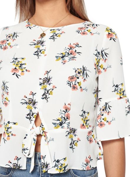 Miss Selfridge Petites Printed Tie Front Top.