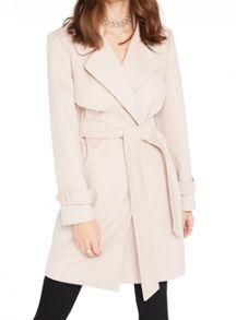 Miss Selfridge Petites Pink Wrap Coat