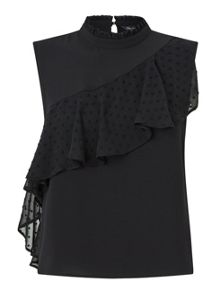 Miss Selfridge Assymetric Dobby Frill Shell