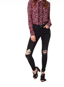 Miss Selfridge Lizzie Black Busted Knee Jean