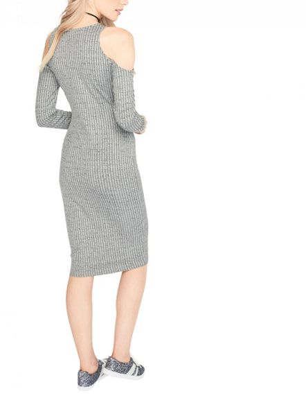 Miss Selfridge Grey Twist Midi Dress