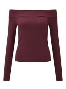 Miss Selfridge Burgundy Bardot Top