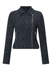 Miss Selfridge Blue Textured Biker