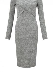 Miss Selfridge Grey Cross Front Midi Dress