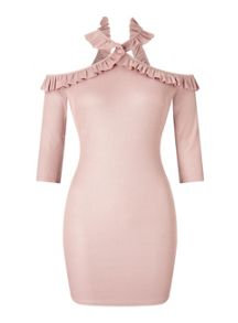 Miss Selfridge Petite Frill Cross Neck Dress