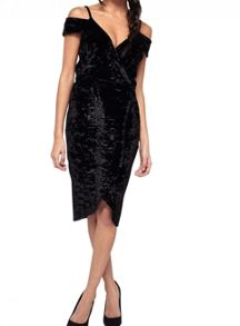 Miss Selfridge Black Velvet Wrap Dress