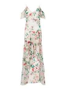 Miss Selfridge Floral Bias Frill Maxi Dress