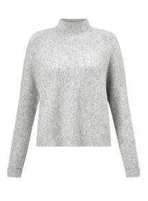Miss Selfridge Grey Crop Funnel Neck Jumper