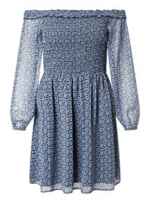 Miss Selfridge Blue Ditsy Shirred Dress