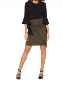 Miss Selfridge Khaki Knot Front Pencil Skirt