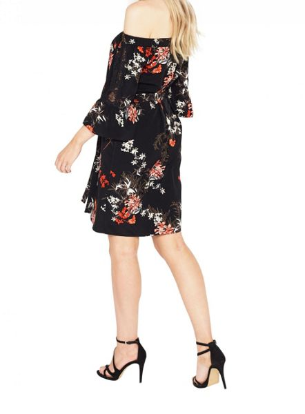 Miss Selfridge Printed Bardot Lace Dress